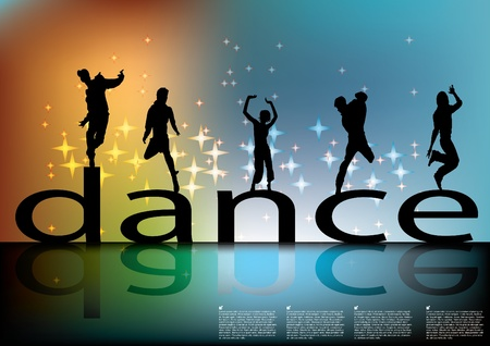 dance sign with dancing silhouettes Stock Vector - 10202419