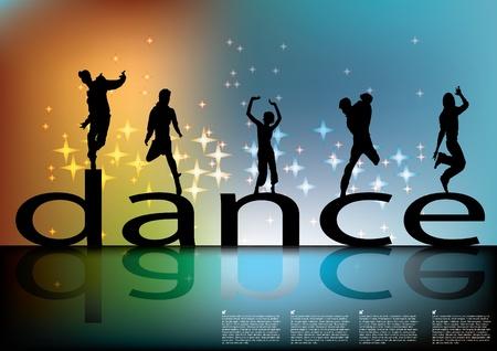 chicas bailando: signo de danza con siluetas de baile  Vectores