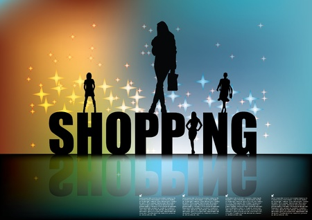holiday shopping: shopping sign with women silhouettes  Illustration