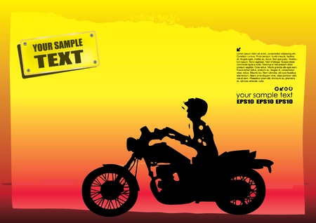 harley: motorcyclist on abstract background