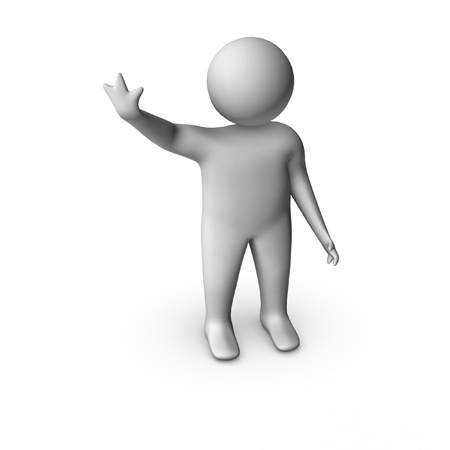 outstretched: isolated 3d man in hello pose