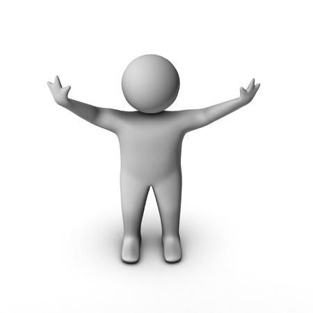 arms outstretched: isolated 3d man in winning pose