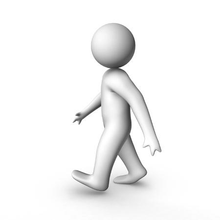 outstretched: 3d man walking  Stock Photo