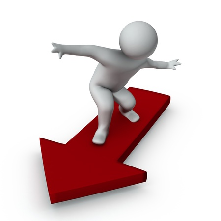 arrow down: 3d man surfing on red arrow