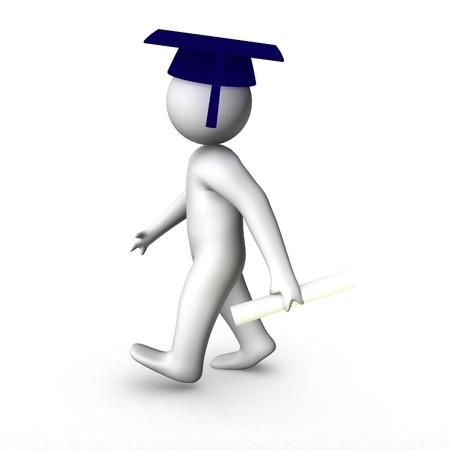 finishing school: 3d man graduated  Stock Photo