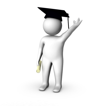 3d man graduated Stock Photo - 10247177