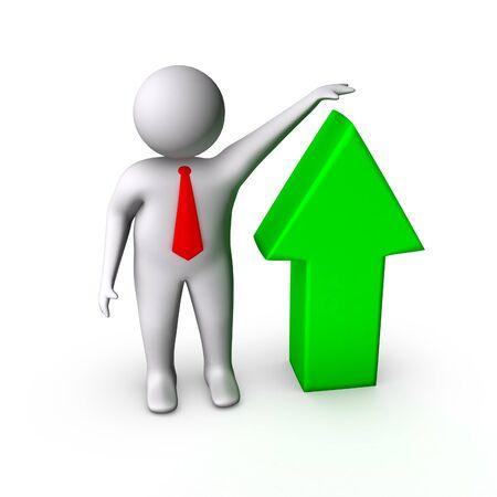 employee satisfaction: 3d man showing grow in business