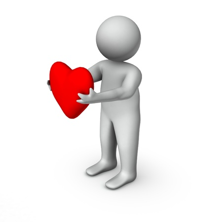 3d man with heart  photo