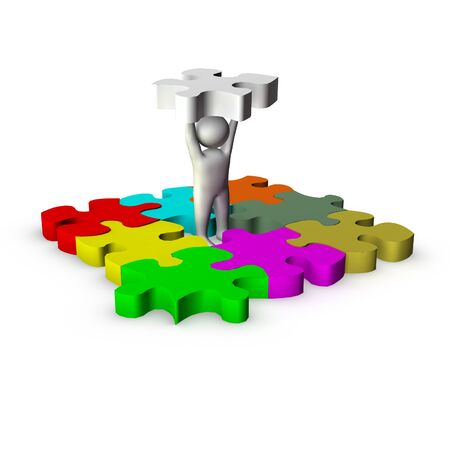main part: 3d man with puzzle game  Stock Photo