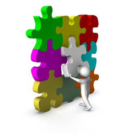 main idea: 3d man with puzzle game  Stock Photo
