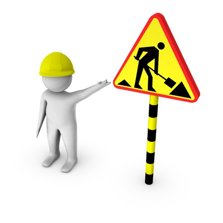 3d worker with under construction sign  photo