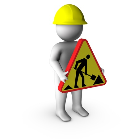 road worker: 3d worker with road works sign