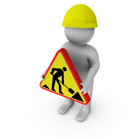 3d worker with road works sign  photo