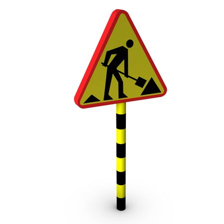 3d road works sign  photo