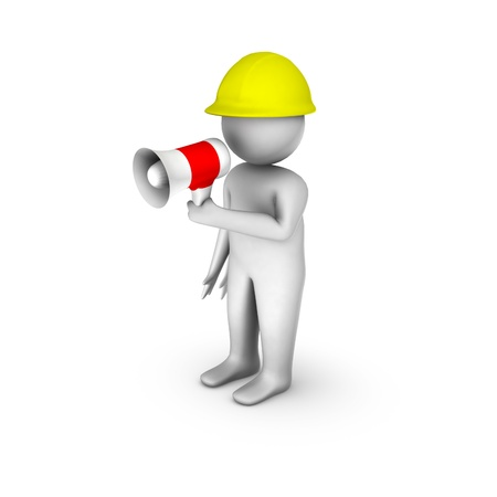 3d worker with megaphone  Stock Photo - 10309899
