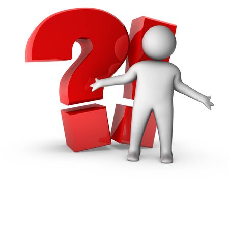 3d man with question and exclamation sign Stock Photo - 10309914