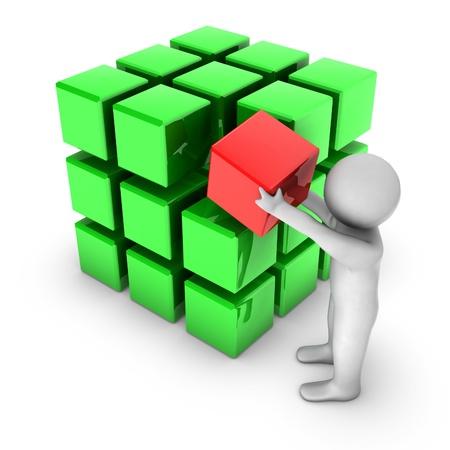 red building blocks: 3d man with shiny blocks  Stock Photo
