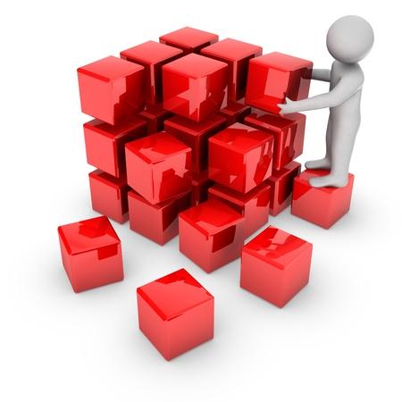 startpunt: 3D man met glanzende blokken Stockfoto