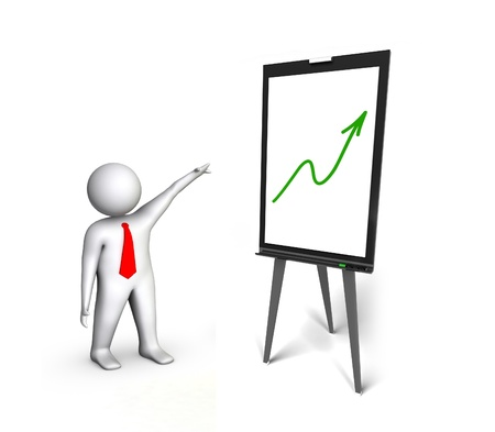 flip chart with green arrow isolated on white photo