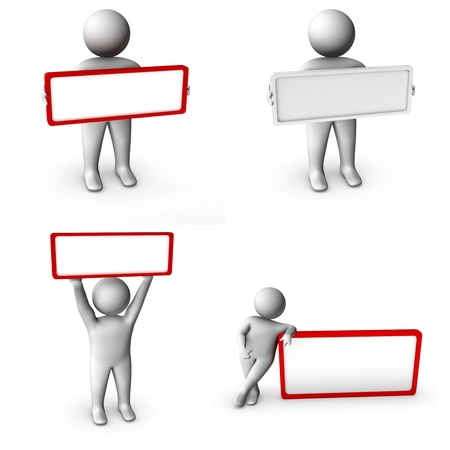 owning: set of 3d man with blank frame  Stock Photo