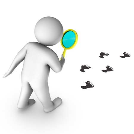 3d man with magnifier and footprints  photo