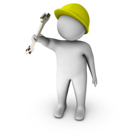 metalwork: 3d plumber with spanner  Stock Photo