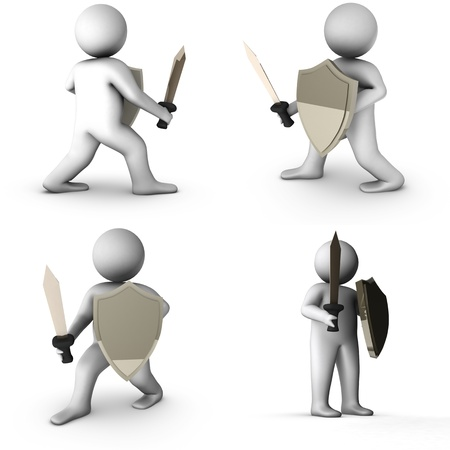 conquest: set of 3d knight with sword isolated on white