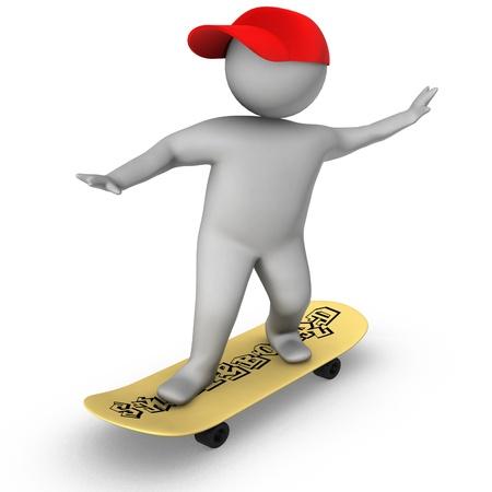 3d skateboarder isolated on white Stock Photo - 10609134