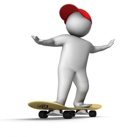 peaked cap: 3d skateboarder isolated on white  Stock Photo