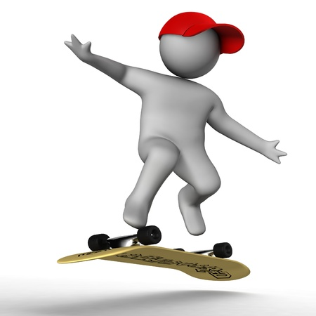 humanoid: 3d skateboarder isolated on white  Stock Photo