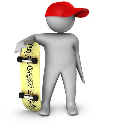 unrecognizable person: 3d skateboarder isolated on white  Stock Photo