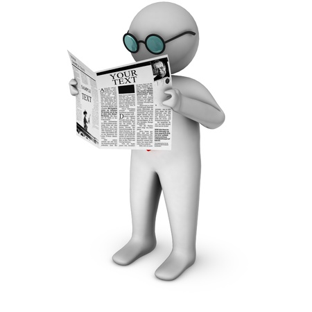 classified: 3d man reading newspaper  Stock Photo