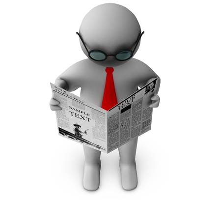 humanoid: 3d man reading newspaper  Stock Photo