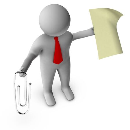 clump: 3d businessman with paperclip  Stock Photo