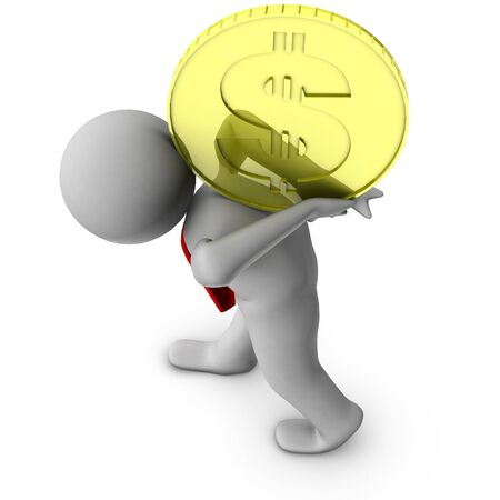 find answers: 3d man with dollar coin