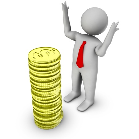 investor: 3d man with stack of dollar coins