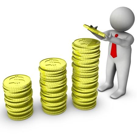 mucho dinero: 3d hombre con la pila de monedas de un d�lar Foto de archivo