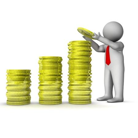 mucho dinero: hombre 3D con pila de monedas de dólar