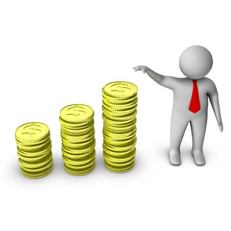 salary man: 3d man showing growth in money