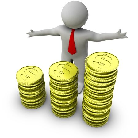 global economy: 3d man with stocks of dollar coins
