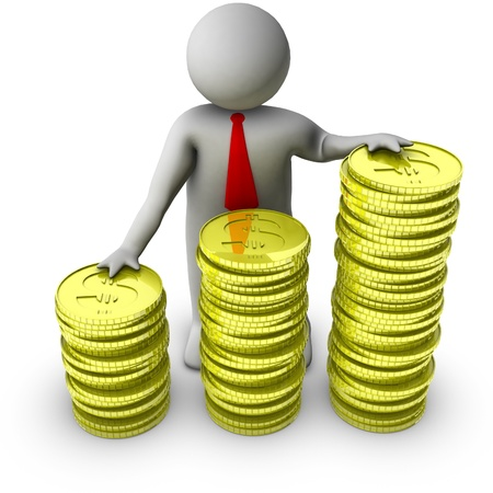 financial gains: 3d man with stocks of dollar coins