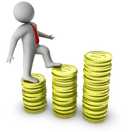 3 d 男 1 ドル硬貨の成長の上を歩いて