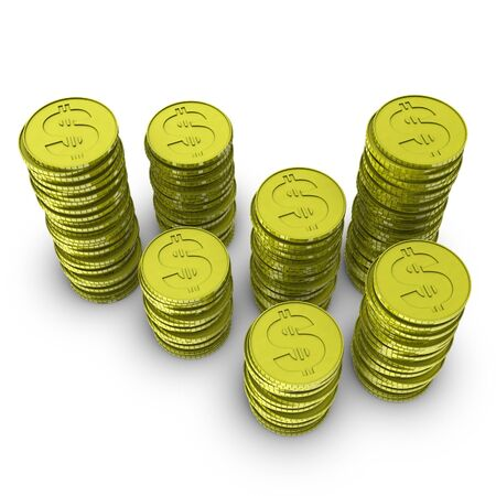 rouleau: stack of 3d coins  Stock Photo