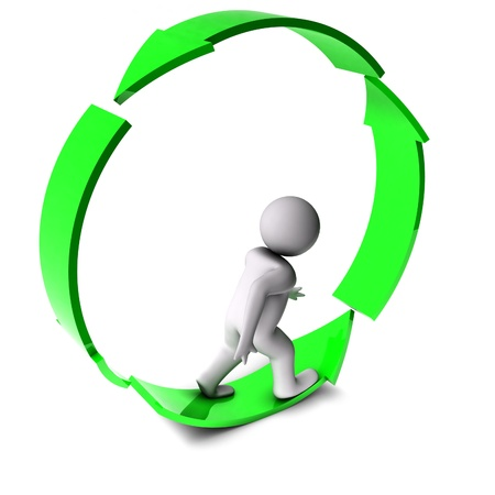 move forward: 3d man on arrow circle arrow
