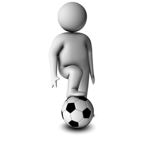 fullbody: 3d man with soccer ball