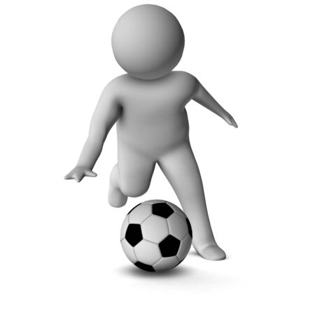 fullbody: 3D man with a football isolated over a white background  Stock Photo