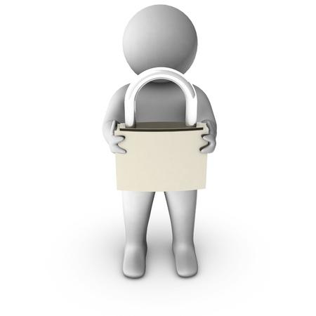 3d man with metal padlock  Stock Photo