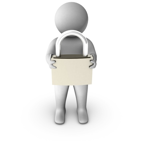 3d man with metal padlock  photo