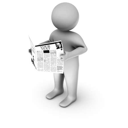job hunt: 3d man reading newspaper  Stock Photo