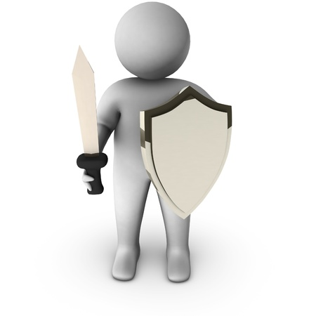 iron defense: 3d knight with sword on white background